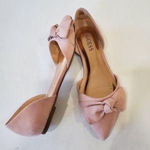 GUESS Norah blush pointy toe slip on flats w bow
